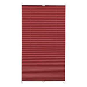 GARDINIA Pleated Blind for Clamping, Opaque Folding Blind, Mounting Kit Included, EASYFIX Pleated Blind with Two Operating Rails, Bordeaux Red, 70 x 130 cm (WxH)