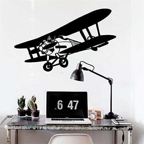 Kunst Vinyl Aufkleber Doppeldecker Flugzeug Himmel Flug Baby Jungen Design Wandaufkleber Wohnzimmer Kunst Flugzeug Wandbilder DIY Wohnkultur 42 * 83 cm