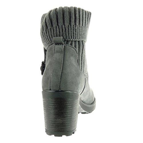 Talon CM Chaussure haut Femme crochet Mode boucle Gris cavalier 7 Angkorly bloc Bottine 0OUPqq