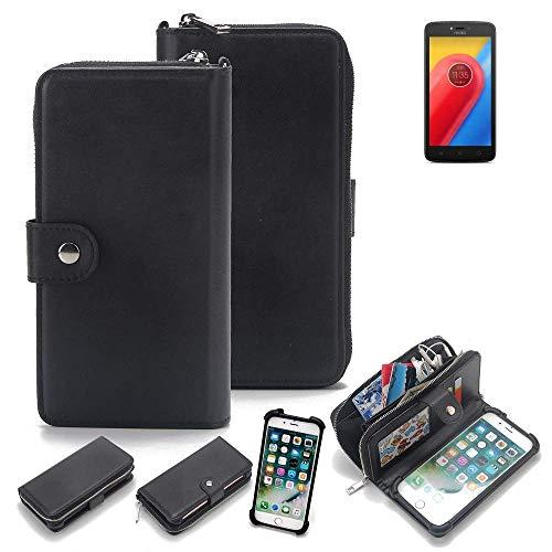 K-S-Trade 2in1 Handyhülle für Lenovo Moto C LTE Schutzhülle & Portemonnee Schutzhülle Tasche Handytasche Case Etui Geldbörse Wallet Bookstyle Hülle schwarz (1x)