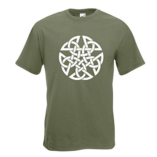KIWISTAR - Celtic PentagramPentacle Druids T-Shirt in 15 verschiedenen Farben - Herren Funshirt bedruckt Design Sprüche Spruch Motive Oberteil Baumwolle Print Größe S M L XL XXL Olive
