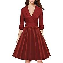 LUOUSE Robe De Bal Style Vintage 1950 Balançoire Rockabilly Audrey Hepburn Clarity Pastel Manches 3/4. Fermeture éclair latérale cachée. Femme