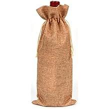 Bolsas de vino de yute natural rústico con cordón, bolsa de regalo para botellas de