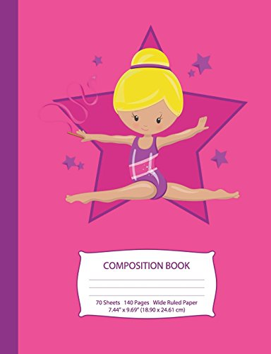 Composition Book: Blonde Hair Gymnast - Hot Pink w/ Purple Stars - Wide Ruled - 140 Pages (70 Sheets) - 7.44