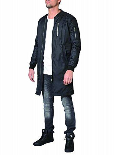 DJ White Long Bomber Jacke Parka Oversize Mantel Schwarz