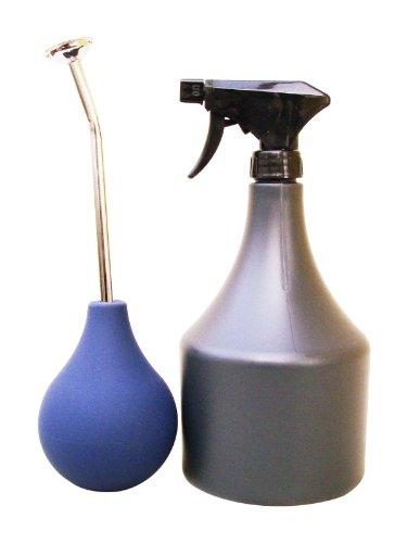 Bonsai Gießbrause (Ballbrause 250 ml) mit langem Hals, Farbe: blau + Sprühflasche 1000 ml ALS SET