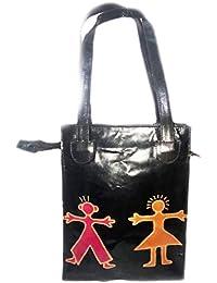 Polinter Hand Painted Genuine Leather Bag India Shantiniketan Handmade Leather Purse Hobo-totes Bag & Shoulder...