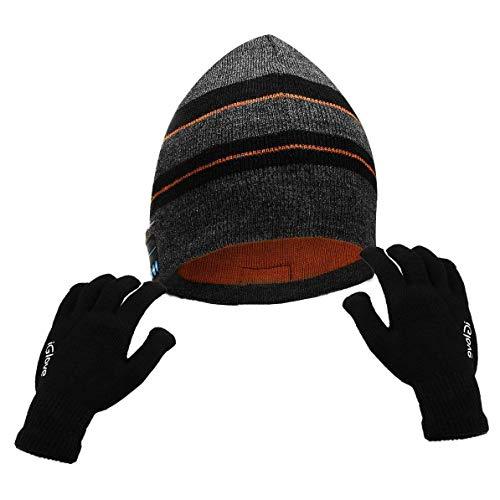 Powcan Bluetooth Bonnet + Gants Tactiles Chapeau Musique...