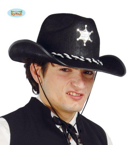 Fiestas Guirca GUI13547 - Schwarzer Filz Sheriff-Hut (Schwarze Western Sheriff Hut)