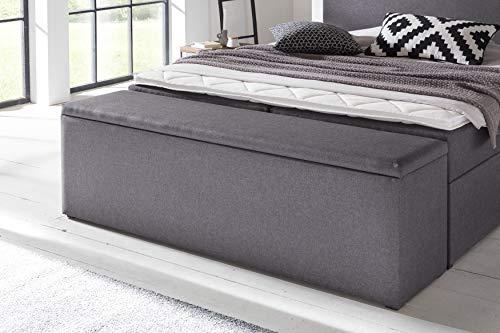 Furniture for Friends Möbelfreude Bettbox Nelli Anthrazit | Aufbewahrungsbox für Boxspringbetten und Polsterbetten | Sitztruhe 160 x 40 x 51 cm