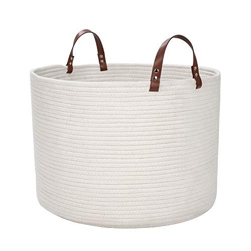 DOKEHOM Extra Großen Faltbare Wäschekörbe, Zusammenklappbaren Tunnelzug Wasserdicht Leinwand Cotton Lagerung Körbe Hemmen 15.7 Inches(D) x 13 Inches(H) (Weiß, L) EINWEG