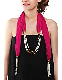 Sabia Souq Trendy Designer Pearl Bead Scarf Necklace For Women And Girls For Party And Casual Wear