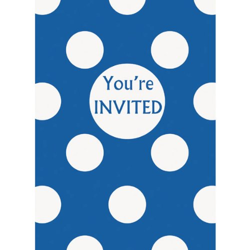 Royal Blue Dots Invites