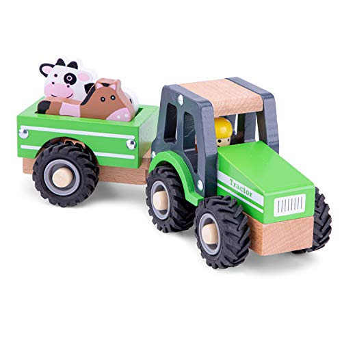 New Classic Toys Wooden Tractor with Trailer and Animals for Children 18 Months and Up Boys and Girls Baby Gifts
