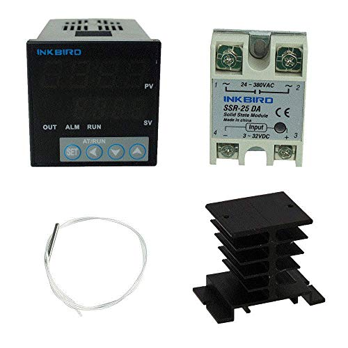 Inkbird 100-240V ITC-106VH Digital PID Temperature Controller Thermostat Auto Switch for Industrial Equipment Homebrew SSR Solid State Relay K Thermocouple PT100 Sensor Probe(ITC-106VH+PT100+25DA SSR)