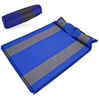 MHOYI Double 2 Person Camping Self Inflating Sleeping Pad with Attached Pillow Lightweight Air Sleeping Pads Air Inflatable Camping Mat for Travel, Backpacking, Camping, Hiking