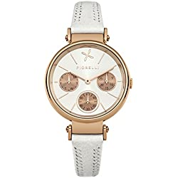 Fiorelli Women's Quartz Watch with Silver Dial Analogue Display and White Leather Strap FO013WRG