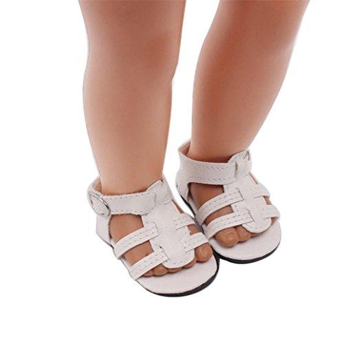 American Girl Puppen Schuhe 45,7cm, günstige American Girl Puppen Pearl Kleid Sandalen vneirw, weiß (American Doll Gymnastik-outfit)