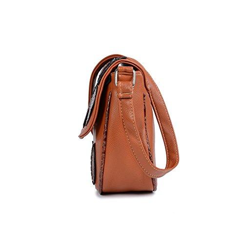 Mefly Nuovo Stile Nazionale Donna Borsa A Tracolla Pu Lady Singola Pelle Spalla Moda Decorazione Blu Cielo brown