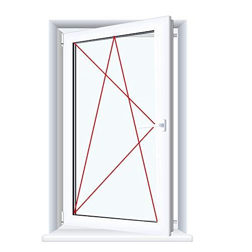 Kunststofffenster Badfenster Ornament Chinchilla Weiss Dreh/Kipp, Anschlag:DIN Links, Glas:2-Fach, BxH:500x1000