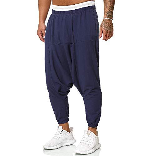 CuteRose Men's Harem Pure Color Linen High Waist Plus Size Plain-Front Pant Navy Blue XL -