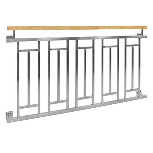 ECD Germany Balcon français 156 x 90 cm, balustrade de balcon effet bois en acier inoxydable brillant