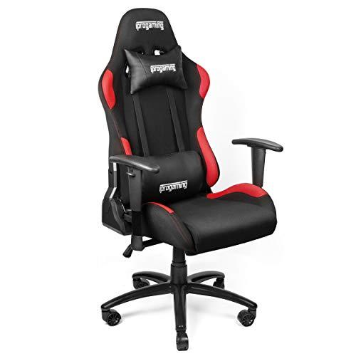 iProgaming | Gaming-Stuhl – Schreibtisch- und Bürostuhl für Gamer mit Stoffbezug in Schwarz-Rot | Belastbarkeit bis zu 200 kg
