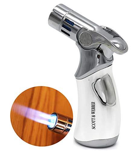 Scott & Webber - Gasbrenner Feuerzeug Silber Metall mit 4 Jetflammen - Küchenbrenner/Butan Gas Brenner Küche/Flambierbrenner (Creme Brulee) / Karamellisieren, Dessert, Grill/Nachfüllbar/bis 1300°C