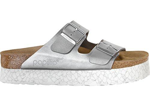 Birkenstock Arizona, Sandales À Bout Ouvert Femme Argent Blanc