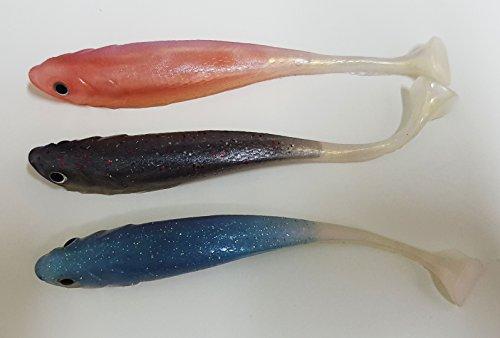 takestop® Set 3Stück Fische Köder künstliche Gummi Silikon-Fischerei See Fluss Farben Zufällige