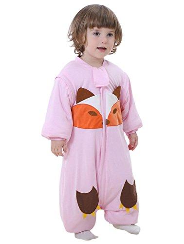 Preisvergleich Produktbild Happy Cherry Unisex Baby Schlafsack mit abnehmbare Ärmel Kind Baumwolle Overall Winter Pyjamas Mädchen Jungen Cartoon Fuchs Nachtwäsche Einteiler Schlafanzug für Kinderparty Asiatische Größe XL - Rosa