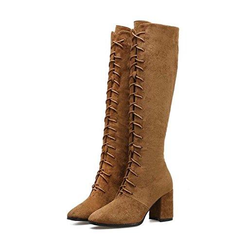 Stivali alti del ginocchio 7cm Chunkly Heel punta alla punta Seude Tall Boots Puro scarpe da polo in puro scarpe da tennis Scarpe da dress Eu Size 35-41 ( Color : Brown , Size : 37 )