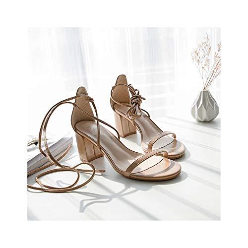 EARIAL& Sandals Women 2019 Summer Gladiator Rome Sandals Shoes Woman Lace-Up Square Hight Heels Sandals Ankle Strap Ladies Pump Shoes Khaki 5 - Leopard Vamp Denim