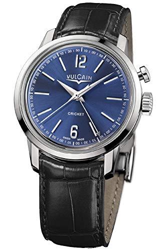 Vulcain Cricket 50s Presidents Herren Uhr analog Handaufzugwerk mit Leder Armband 100153.297L