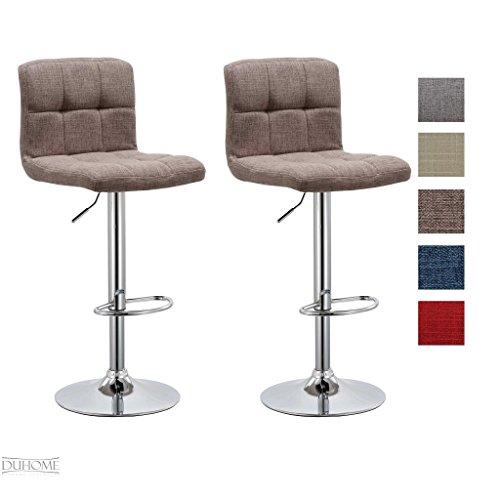 Barhocker 2x Barstuhl BRAUN aus Stoff LEINEN, Drehstuhl, Tresenhocker (Typ 9-451Y) Bar Sessel, gut gepolstert, Bodenschoner, mit verchromten Griff, höhenverstellbar, gut gepolstert mit Lehne (Leinen Braun)
