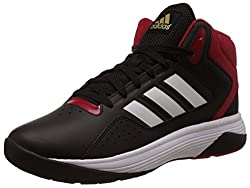 adidas neo Mens Cloudfoam Ilation Mid Black, White and Matte Gold Basketball Shoes - 11 UK