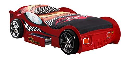 VIPACK SCTR200R Autobett Turbo Racing Rot , Maße ca.: 225 x 63 x 111 cm , Liegefläche 90x200 cm , rot lackiert aufgedruckte Rennwagen-Optik