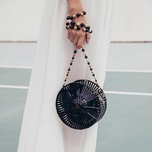 Sacchetto di spalla trasparente del sacchetto di traversa del sacchetto della borsa rotonda di bambù di lusso di spiaggia di lusso,Fami Nero