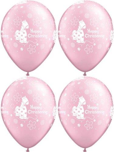 Pink Supplies Pony Party (10x Mädchen Baby Pink Pony, Blumen & Circles Happy Christening Luftballons–27,9cm)
