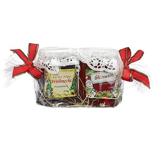 Allgäuer Geschenkset für Weihnachten – Weihnachts-Fruchtaufstrich und Glühwein-Fruchtgelee – Liebevoll mit Klarsichtfolie und Geschenkbändern auf Heubett verpackt – 2 x 210g