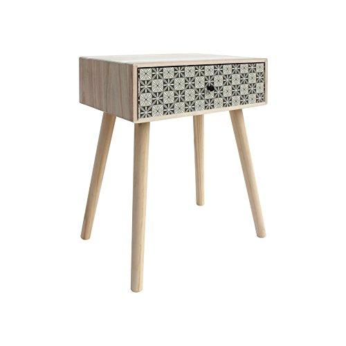 Mobili rebecca comodino tavolino da divano 1 cassetto legno marrone chiaro grigio stile moderno soggiorno camera da letto (cod. re6117)