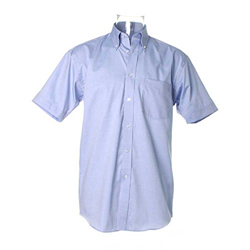 Kustom Kit Oxford Pinpoint Short Sleeve Shirt Light Blue