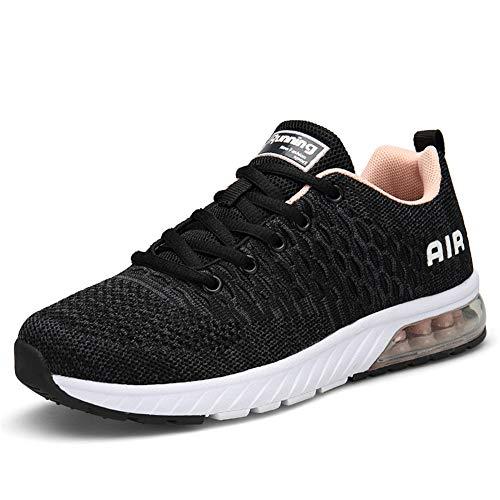 IceUnicorn Damen Laufschuhe rutschfeste Atmungsaktiv Gym Sportschuhe Schnürer Outdoor Turnschuhe Joggen Schuhe Freizeit Sneaker(Grau/Pink,39EU)
