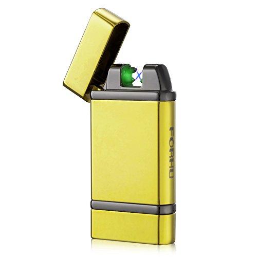 FORHU USB Wiederaufladbares Winddichtes Feuerzeug Mit Doppellichtbogen Photoelectric sensors Gold