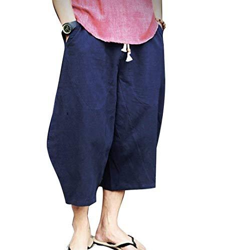 Herren Sommer Freizeithose Leinen Baumwolle Boho Hippie Breites Bein Baggy Harem Hose Mit Taschen 6 Farben (Color : Navy Blau, Size : 3XL)