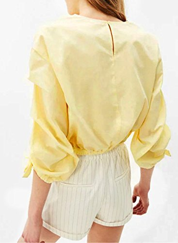 ACHICGIRL Women's Fashion Ruched Sleeve Pullover Solid Blouse yellow