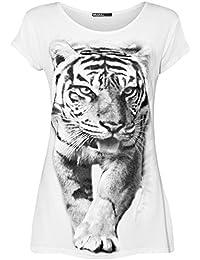 Womens Tiger Animal Print Short Sleeve Scoop Ladies Stretch Top T-Shirt - 8-14