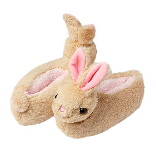 Chaussons fantaisie avec lapin à oreilles tombantes, semelle antidérapante, pour fille - Beige - Sooty Fawn,