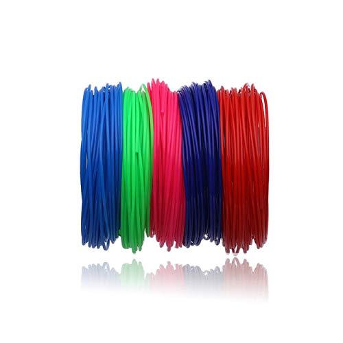 3D Druck Stift Filament, Fayella 100 Meter 10 Farben 1,75 MM PLA Filament Materialien Für 3D Druck Stift Themen Kunststoff Drucker Verbrauchsmaterialien DIY Geschenke, 50 Meter 5 Farbe