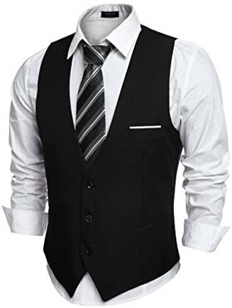 JINIDU Men's Slim Fit Wedding Waistcoat Casual Regular Fit Business Suit Vests